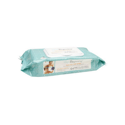 Well Beginnings Baby Wipes, Shea Butter, 64 ea