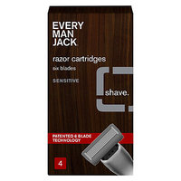 Every Man Jack 6-Bladed Cartridges, Sensitive, 4 ea