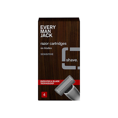 Every Man Jack 6-Bladed Cartridges, Sensitive, 4 ea