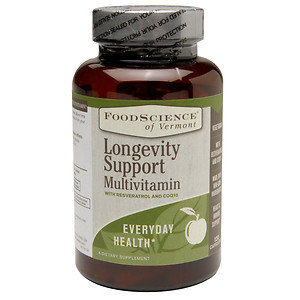 FoodScience of Vermont Longevity Support Multivitamin with Resveratrol and COQ10, 120 Capsules