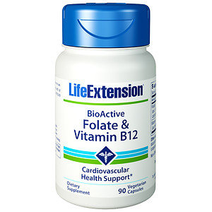 Life Extension Folate & Vitamin B12, Vegetable Capsules, 90 ea