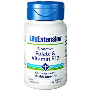 Life Extension Folate & Vitamin B12, Vegetable Capsules, 90 ea