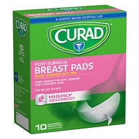 Curad Post Surgical Breast Pads, One Size Fits All, 10 ea