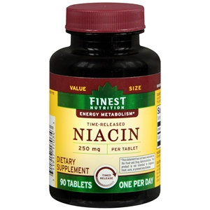 Finest Nutrition Time-Released Niacin 250mg, Tablets, 90 ea