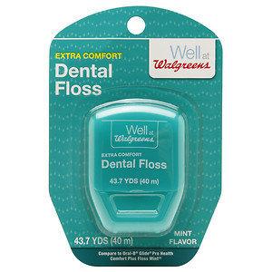 Walgreens Dental Floss Extra Comfort, Mint, 43 yd