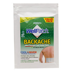 WellPatch Backache Multi-Count Patch, 4 ea