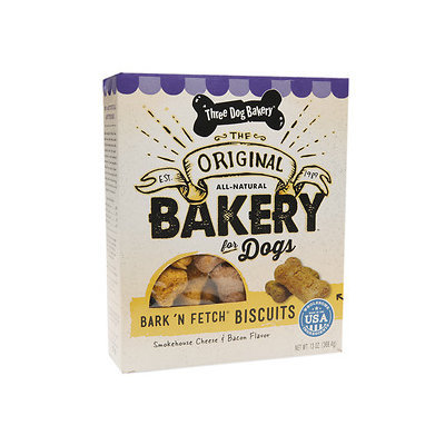 Three Dog Bakery Bark'n Fetch Smokehouse Biscuits, Cheese & Bacon, 13 oz