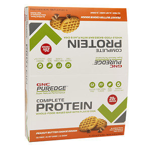 GNC Puredge Complete Protein Whole-Food-Based Protein Bars, Peanut Butter Cookie Dough, 8 ea