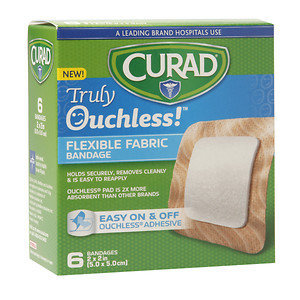 Curad Truly Ouchless Flexible Fabric Bandage, 2 x 2 inch (5 x 5cm), 6 ea