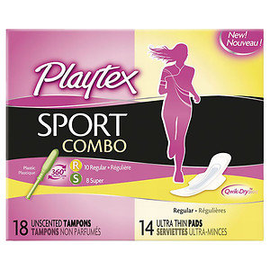 Playtex Sport Combo Pack Tampons & Pads, Regular/Super, 42 ea