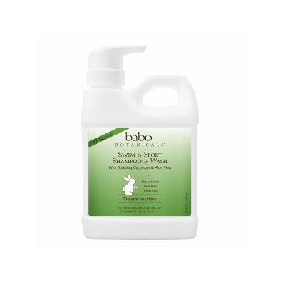 Babo Botanicals - All Natural Swim & Sport Shampoo & Wash with Soothing Cucumber & Aloe Vera - 16 oz.