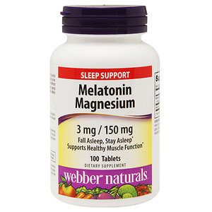 Webber Naturals Melatonin Magnesium 3mg/150mg, 100 ea