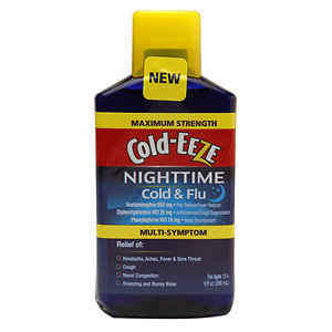 Cold-Eeze Maximum Strength Nighttime Cold & Flu Multi Symptom Relief Liquid, Cherry, 9 oz