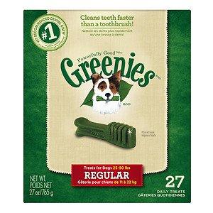 Greenies Dog Dental Chew Treats Regular 27oz 27ct