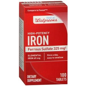 Walgreens High-Potency Iron 65mg, Ferrous Sulfate 325mg, Tablets, 100 EA