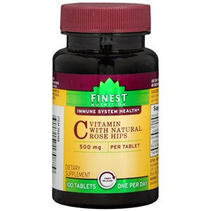 Finest Nutrition Vitamin C with Natural Rose Hips 500mg, Tablets, 100 ea