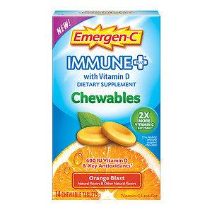 Emergen-C Immune+ with Vitamin D Chewables Orange Blast