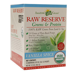 Amazing Grass Raw Reserve Greens & Protein Powder Vanilla Spice - 10 Individual Packets - Vegan