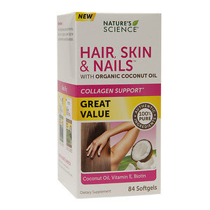 Nature's Science Hair, Skin & Nails with Organic Coconut Oil, Softgels, 84 ea