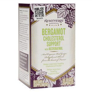 Reserveage Organics Bergamot Cholesterol Support with Resveratrol 30 Veggie Capsules