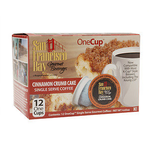 San Francisco Bay Gourmet Coffee OneCup Single Serve Coffees, Cinnamon Crumb Cake, 12 ea