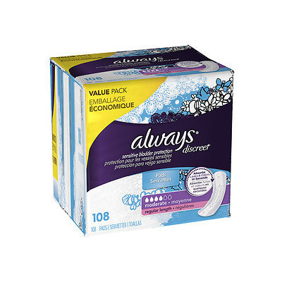 Always Discreet Incontinence Pads, Moderate, Regular Length, 108 ea