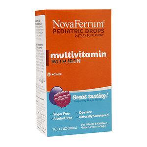 NovaFerrum Pediatric Drops Multivitamin with Iron, Raspberry Grape, 1.66 fl oz
