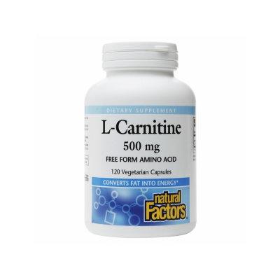 L-Carnitine 500 mg, 120 Vegetarian Capsules, Natural Factors
