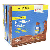 Walgreens Nutrition Shakes Plus Protein, Chocolate, 16 pk, 8 oz