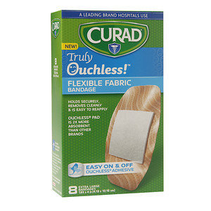 Curad Truly Ouchless Flexible Fabric Bandage, Extra Large 1.65 x 4 inch (4.19 x 10.16cm), 8 ea