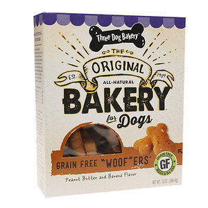 Three Dog Bakery Grain Free Woofers, Peanut & Banana, 13 oz