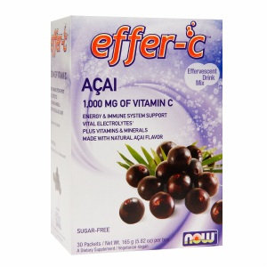 NOW Foods effer-C 1.000mg Vitamin C Drink Mix, Acai, 30 ea