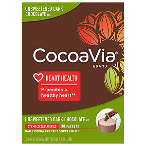 CocoaVia Daily Cocoa Extract Supplement, Unsweetened Dark Chocolate, 30 ea