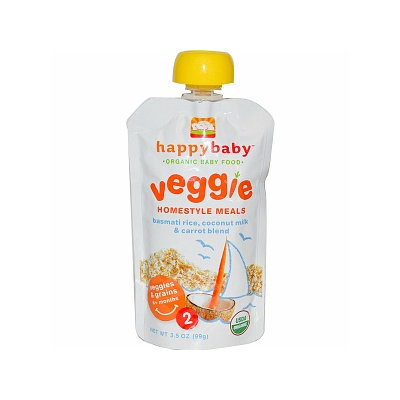 Happy Baby Organic Baby Food: Stage 2 / Homestyle Meals Bastmati Rice Coconut Milk & Carrot