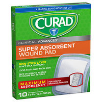 Curad Clinical Advances Ultrasorb, 4 in x 4 in, 10 ea
