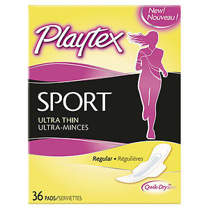 Playtex Sport Ultra Thin Pads With Wings Pads, Regular, 36 ea