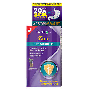 Natrol High Absorption Zinc, Chewable Tablets, Pineapple, 60 ea