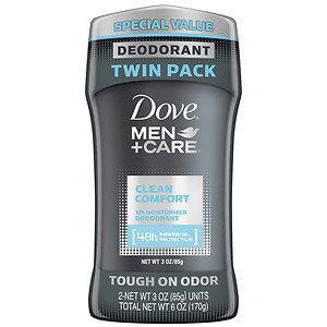 Dove Men+Care Deodorant, Twin Pack, Clean Comfort, 3 oz