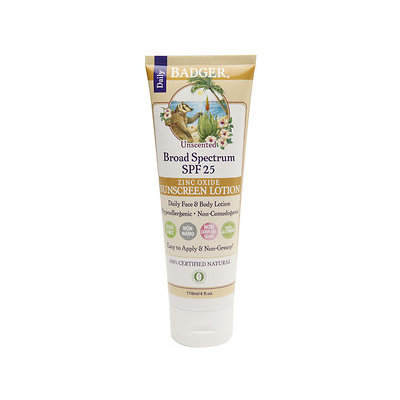 Badger Sunscreen Lotion, SPF 25, Unscented, 4 oz
