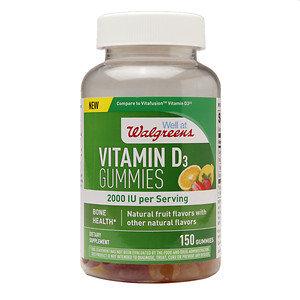 Walgreens Vitamin D3 2000 IU Gummies, Fruit, 150 ea
