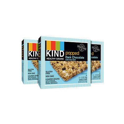 KIND Healthy Grains Popped Granola Bars 3 Pack, 15 pk, Dark Chocolate with Sea Salt, 1.2 oz