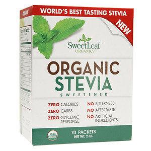 Organic Stevia Sweetener Powder SweetLeaf 70 Packets Box