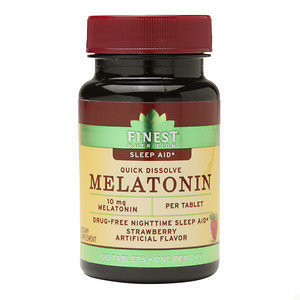 Finest Nutrition Melatonin 10 mg Quick Dissolve Tablets, Strawberry, 90 ea