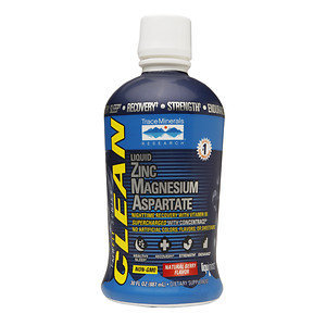Trace Minerals Research Clean Fit Series Liquid Zinc Magnesium Aspartate, Natural Berry Flavor, 30 oz