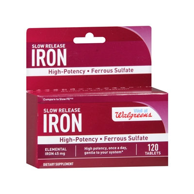 Walgreens Iron Slow Release High Potency Ferrous Sulfate 45mg, Tablets, 120 ea