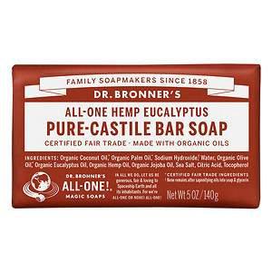 Dr. Bronner's All-One Hemp Pure-Castile Soap Bar Eucalyptus
