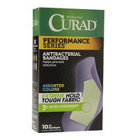 Curad Performance Series Antibacterial Bandages, Assorted Colors, XL, 2 x 4 inch (5.08 x 10.16cm), 10 ea
