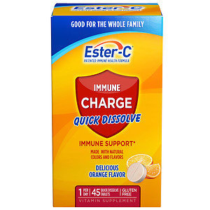 Ester-c Ester C Immune Charge Quick Dissolve Tablets, Orange, 45 ea