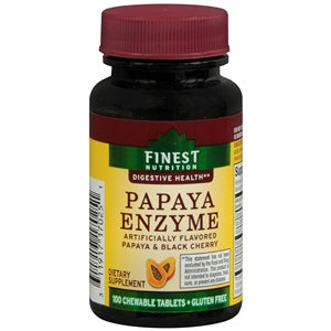 Finest Nutrition Papaya Enzyme, Chewable Tablets, Papaya & Black Cherry, 100 ea
