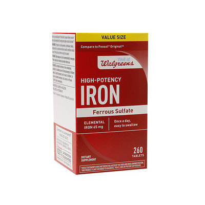 Walgreens High-Potency Iron, Ferrous Sulfate, Tablets, 260 ea